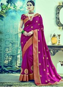 Floral Embroidered Work Purple Designer Traditional Saree