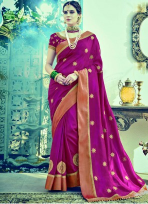 Floral Embroidered Work Purple Designer Traditional Saree