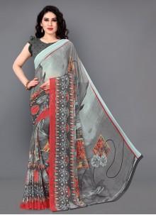 Floral Print Grey Casual Saree
