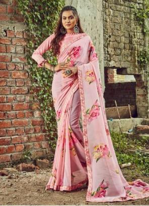 Pink Floral Print Casual Saree