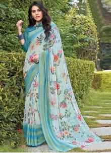 Aqua Blue Floral Print Casual Saree