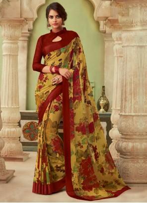 Multi Colour Floral Print Casual Saree