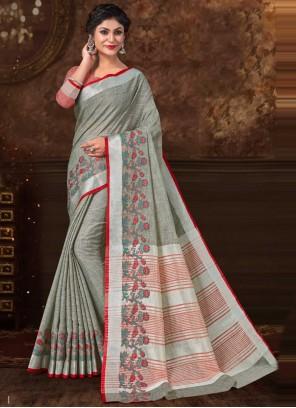 Floral Print Ceremonial Trendy Saree