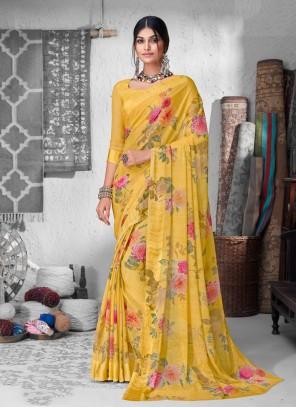 Floral Print Chiffon Satin Yellow Casual Saree