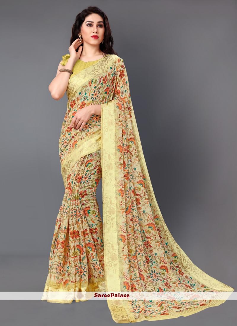 Floral Print Cotton Classic Saree