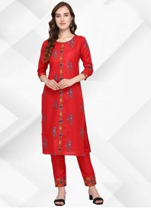 Floral Print Cotton Red Party Wear Kurti