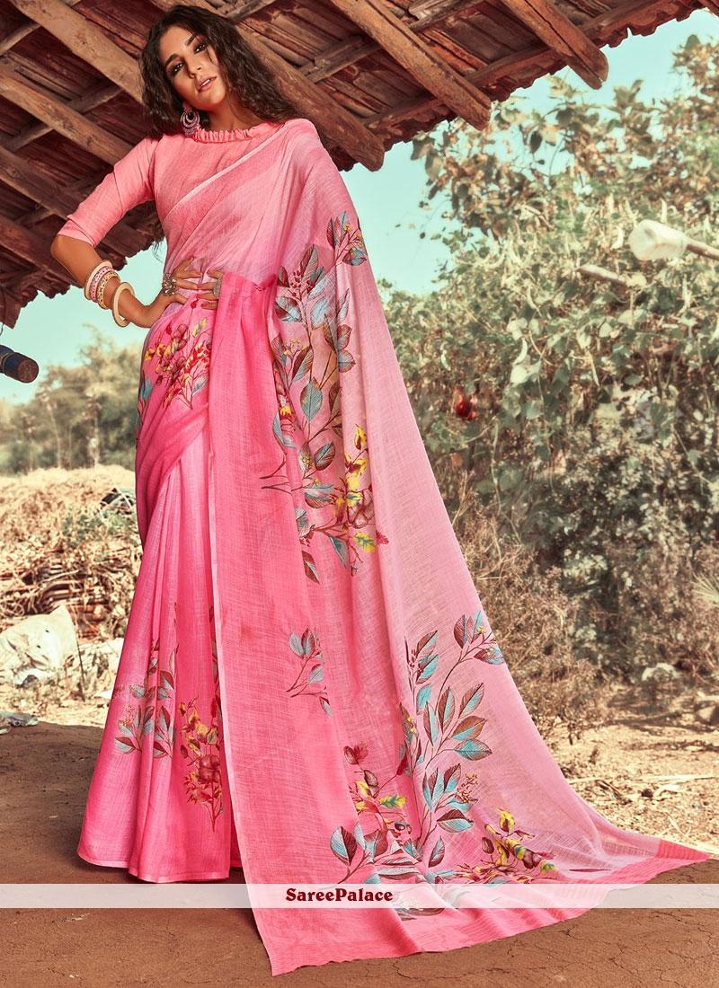 Pink Floral Print Designer Saree