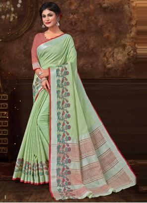 Floral Print Fancy Fabric Green Trendy Saree