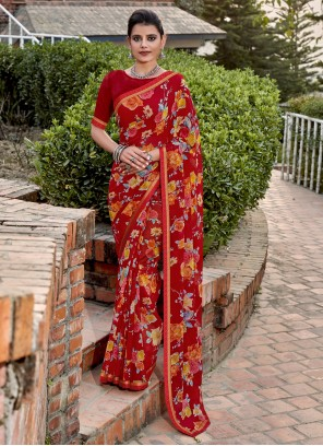 Floral Print Faux Chiffon Maroon Contemporary Saree