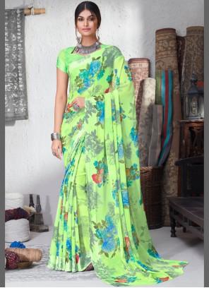 Floral Print Faux Chiffon Green Bollywood Saree
