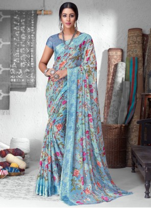 Floral Print Faux Chiffon Multi Colour Saree