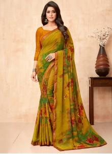 Floral Print Faux Georgette Multi Colour Classic Saree