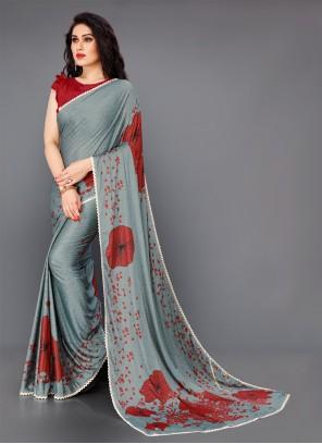 Floral Print Festival Grey Classic Saree