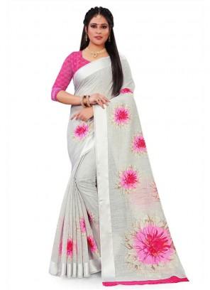 Grey Floral Print Festival Saree