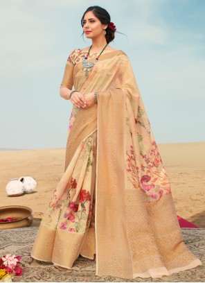 Floral Print Festival Beige Traditional Saree