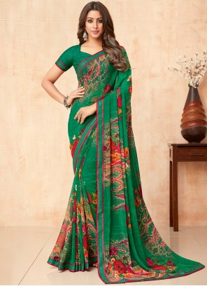 Floral Print Green Classic Saree