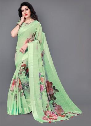 Floral Print Green Cotton Classic Saree