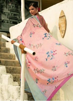 Floral Print Linen Pink Casual Saree