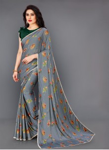 Floral Print Lycra Grey Trendy Saree