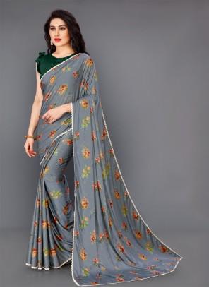 Floral Print Lycra Grey Trendy Saree