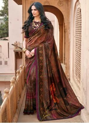 Floral Print Multi Colour Chanderi Printed Saree