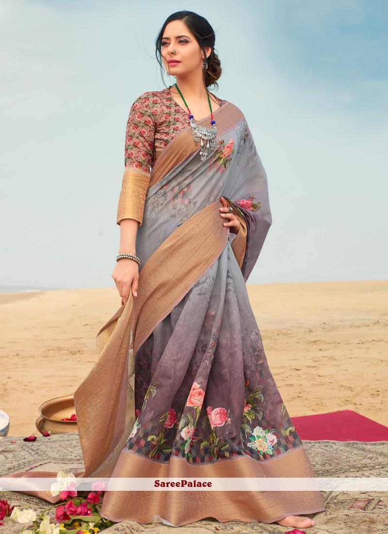 Floral Print Multi Colour Classic Saree