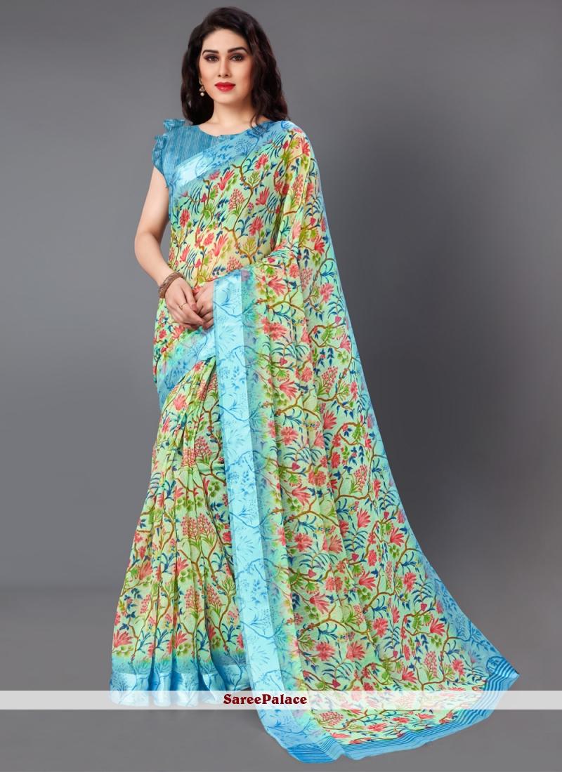 Floral Print Multi Colour Cotton Classic Saree