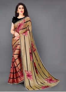 Floral Print Multi Colour Lycra Classic Saree