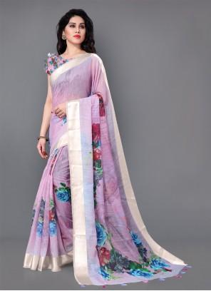 Floral Print Party Lavender Trendy Saree