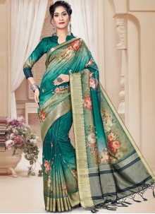 Multi Colour Floral Printed Party Trendy Saree