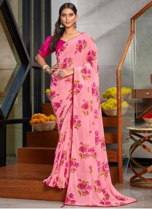 Floral Printed Faux Georgette Pink Saree