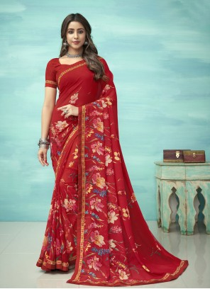 Floral Print Red Faux Georgette Casual Saree
