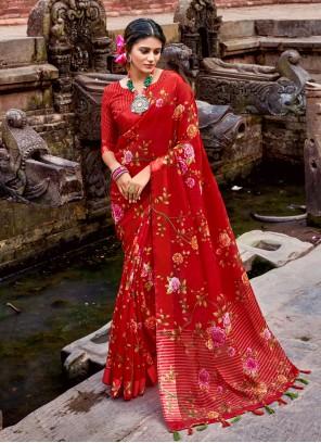 Floral Print Red Printed Saree