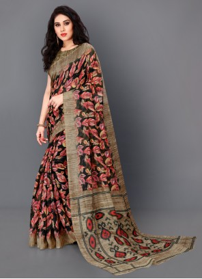 Floral Print Multi Colour Traditional Saree