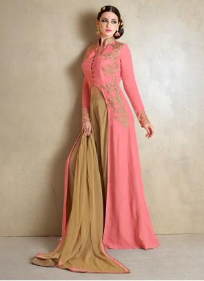 Floral Resham Work Pink Georgette Palazzo Salwar Suit