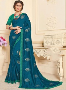 Foil print Art Silk Trendy Saree in Blue