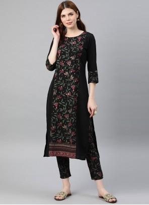 Foil Print Black Crepe Silk Readymade Salwar Kameez