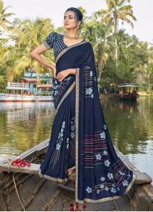 Blue Foil Print Chanderi Printed Saree