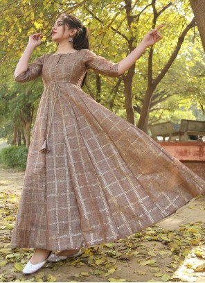 Foil Print Chanderi Brown Trendy Gown