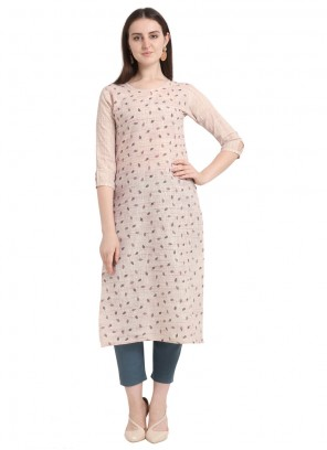 Foil print Cotton Designer Kurti in Cream