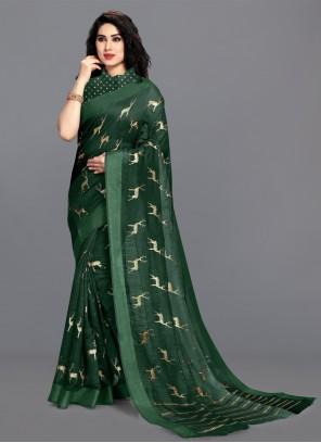 Foil Print Green Cotton Printed Saree