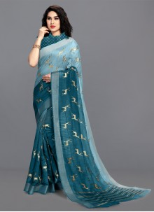 Foil Print Cotton Saree in Turquoise