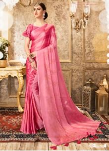 Pink Foil Print Faux Chiffon Bollywood Saree