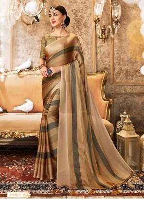 Multi Color Foil Print Faux Chiffon Trendy Saree