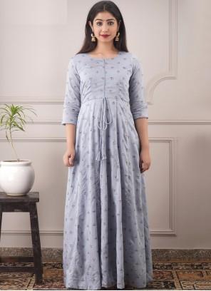 Foil Print Festival Readymade Lavender Gown