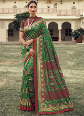 Foil Print Green Art Silk Traditional Designer Saree