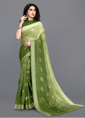 Foil Print Green Cotton Shaded Saree