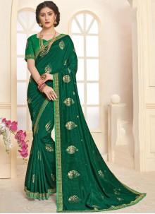 Foil print Green Trendy Saree