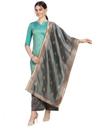Foil print Jacquard Salwar Suit in Aqua Blue