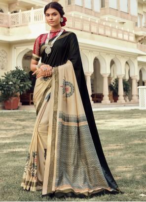 Foil Print Multi Colour Traditional Saree